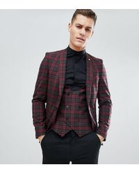 Noose And Monkey - Tall Super Skinny Suit Jacket In Plaid Check - Lyst