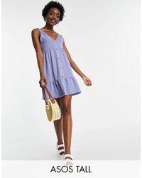 ASOS - Vestido azul polvoriento amplio abotonado - Lyst