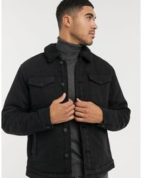 Only & Sons Denim Jacket With Borg Collar - Black
