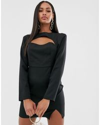 Missguided Cut Out Mini Dress With Long Sleeves - Black