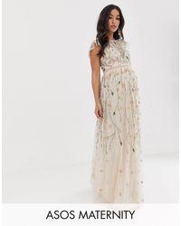 ASOS ASOS DESIGN Maternity - Jolie robe longue en tulle à broderies florales et sequins - Multicolore
