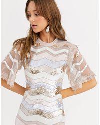 Needle & Thread Robe mi-longue motif zigzag orné - Multicolore