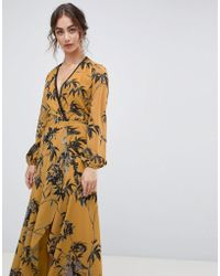 Hope and Ivy - Hope & Ivy Long Sleeve Wrap Front Maxi Dress In Bird Print - Lyst