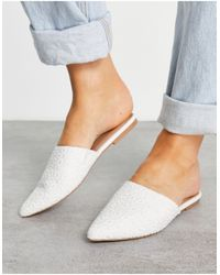 ASOS Lava Pointed Flat Mules - White