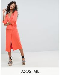 ASOS Asos Design - Tall - Midi-jurk Met Overslag - Meerkleurig