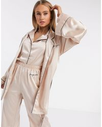 Missguided Embroidered Contrast Trim Robe - Natural