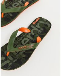 Superdry Tongs à logo - Camouflage - Vert