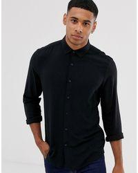 ASOS Regular-fit Viscose Overhemd - Zwart