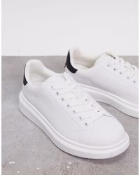 Pull&Bear Flatform Trainers With Black Back Tab - White