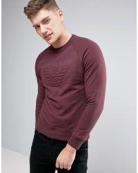Armani Jeans - Emboss Logo Sweat Crewneck Regular Fit In Bordeaux - Lyst
