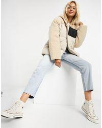 ASOS Fleece Patched Puffer Jacket - Natural