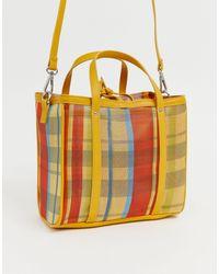 Pull&Bear Check Print Mesh Bag - Multicolour