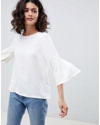Just Female - Garner Fluted Sleeve Blouse - Lyst