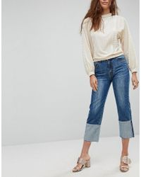 EVIDNT Workmans Jeans With Exaggerated Turn Up - Blue