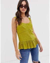 ASOS – Camisole mit Schößchen - Grün
