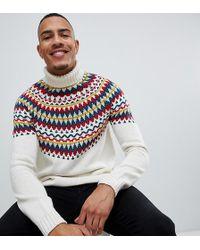 ASOS - Knitted Fairisle Roll Neck Jumper In Beige - Lyst