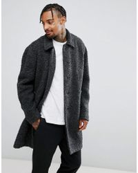 ASOS - Borg Overcoat In Charcoal - Lyst