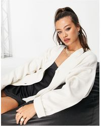 TOPSHOP Knitted Oversized Sweat Cardi - White