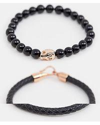 Simon Carter - Beaded & Leather Bracelet 2 Pack In Black - Lyst
