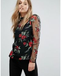 Warehouse - Premium Floral Embroidered Top - Lyst