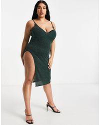 Fashionkilla Glitter Plunge Front Cami Midi Dress With High Thigh Split - Green