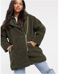 French Connection Зеленое Плюшевое Oversize-пальто На Сквозной Молнии Из Искусственного Меха -зеленый