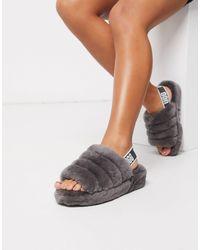 UGG Flat Fur Sandals - Серый