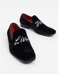 Jeffery West Jung Live Fast Embroided Loafers Black Suede
