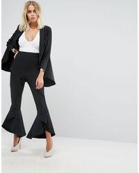 Lavish Alice Frill Fitted Pants - Black