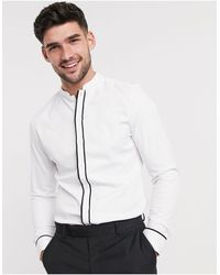 ASOS Slim Fit Sateen Shirt With Mandarin Collar & Contrast Tipping - White