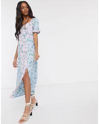 Vero Moda – Maxi-Freizeitkleid mit Blumenmustermix - Blau
