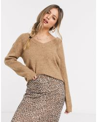 Pieces Ella V Neck Wool Sweater - Brown