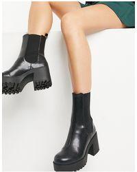 Monki Черные Ботинки На Массивной Подошве Из Искусственной Кожи Malwina-черный