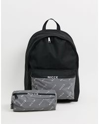 Nicce London Backpack With Reflective Pocket And Pencilcase-multi - Black