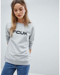 French Connection Fcuk Print Sweatshirt - Gray