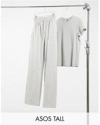 ASOS Asos Design Tall Straight Leg jogger With Deep Waistband And Pintuck - Grey