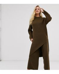 Micha Lounge Split Front Tunic Co-ord - Brown