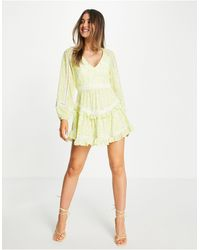 Forever New Backless Balloon Sleeve Tiered Mini Dress With Lace Inserts - Yellow