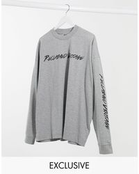 Reclaimed (vintage) Inspired Long Sleeve T-shirt With Logo - Gray