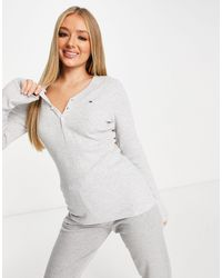 Tommy Hilfiger Organic Cotton Thermal Lounge Henley Top - Gray