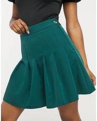 New Look Темно-зеленая Плиссированная Мини-юбка -зеленый Цвет