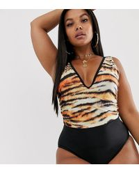 c1f231371d92e ASOS Asos Design Curve Flutter Sleeve Supportive Swimsuit In Aztec ...