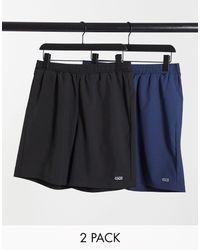 ASOS 4505 Confezione risparmio da 2 pantaloncini da allenamento ad asciugatura rapida - Nero