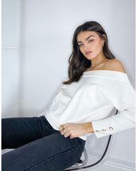 River Island Jersey color marfil con escote bardot y detalle - Blanco