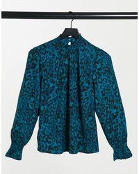 New Look Синяя Присборенная Блузка С Леопардовым Принтом -синий