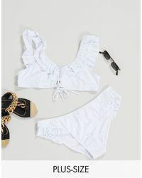 UNIQUE21 Hero Plus Frill Bikini Top - White