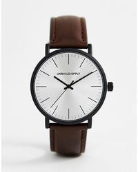 ASOS Classic Watch With Matte Black Case - Brown
