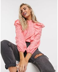 TOPSHOP Pink Check Frill Stand Blouse