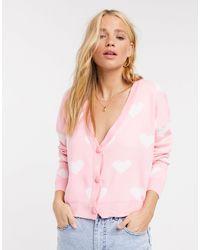 Daisy Street – Locker geschnittene Strickjacke mit Herzmuster - Pink