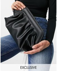 Glamorous Exclusive Slouchy Pillow Clutch Bag - Black